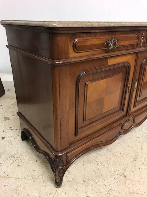 Marble Topped Antique French Cabinet - g5a